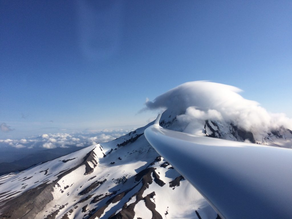 Mt Hood cloud cap with glider wing by K Cooper