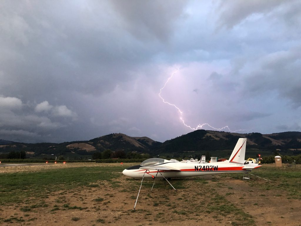 Lightning over the glider port by M Stubbs