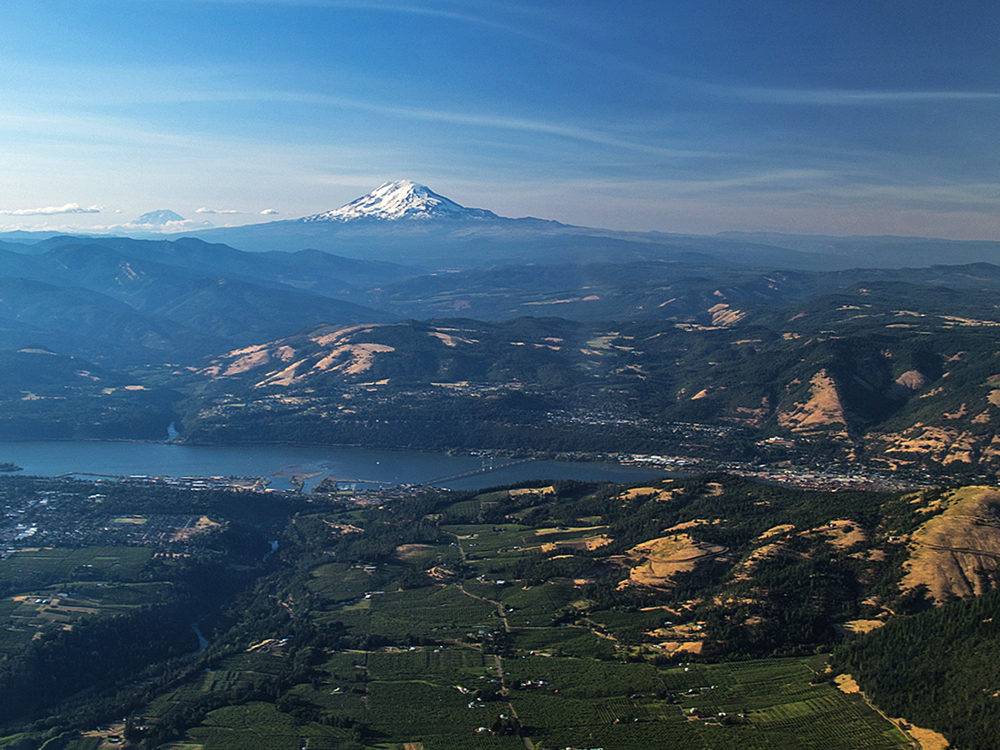 Mt Adams from glider above Hood River